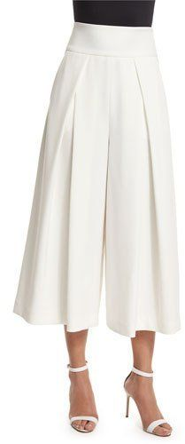 Milly Pleated-Front Italian Culottes, White
