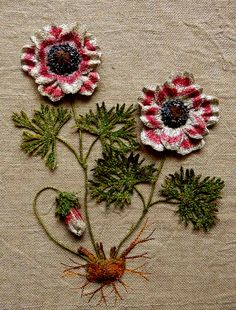 Anemone 3D embroidered textile artwork by Corinne Young - www.corinneyoungtextiles.co.uk
