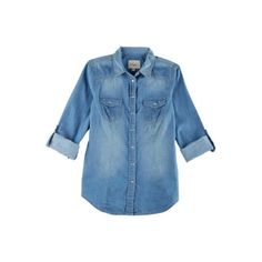 YMI Juniors Chambray Button Down Shirt ($22) ❤ liked on Polyvore featuring tops, chambray blue, button front shirt, roll tab sleeve shirts, blue button down shirt, blue shirt and chambray top