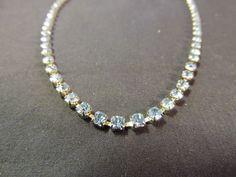 Vintage Silvertone Light Blue Rhinestone Collar Necklace Wedding Evening Event #Unbranded