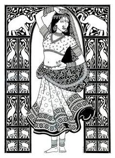 Saree/Indian Girl Coloring Page