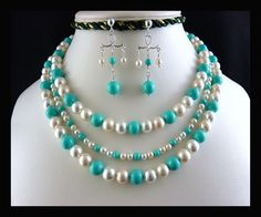 Turquoise and White South Sea Shell Pearl Silver Necklace and Earrings   StyleKittie - Jewelry on ArtFire