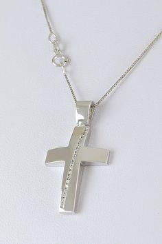 Σταυρός βάπτισης λευκόχρυσος με λευκά ζιργκόν σε αλυσίδα, 14 καράτια, κορίτσι, Κωδικός WS335 Gold Cross, Ring Earrings, Arrow Necklace, Jewelery, Baby, Elephant Necklace, Crosses, Rings, Necklaces