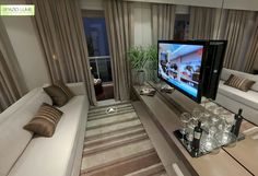 sala tv, home theater, sala de estar com espelhos