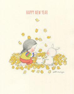 새해 복 많이 받으세요! 올해에는 좋은 일이 가득가득 넘쳐날 거에요! Happy New Year! This new year, there'll be a lot of happy things for you!