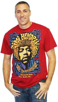 """Celebrate peace and love with our Jimi Hendrix 5th Dimension shirt. This red shirt features a swingin' graphic design emulating a concert poster featuring rock god Jimi Hendrix and the name of his first album, """"Are You Experienced."""" Buy now: http://tributapparel.com/collections/all/products/5th-dimension-men"""