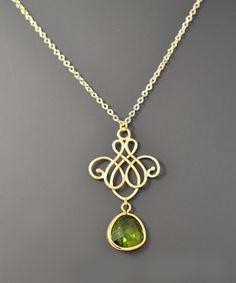 SALE Royal chandelier Peridot necklace Gold by BijouandBijou
