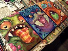Monster art by Amy Williams. grade art idea project by justine Pintura Graffiti, Classe D'art, 7th Grade Art, Middle School Art Projects, Inspiration Art, Monster Art, Mini Monster, Art Lessons Elementary, Art Graphique