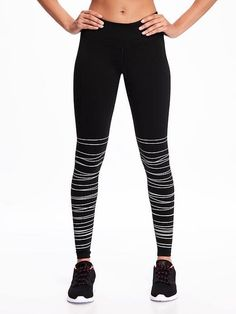 Go-Dry Mid-Rise Textured-Print Compression Tights for Women Old Navy