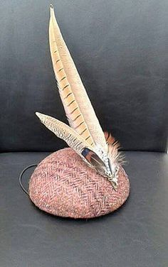 Tweed #fascinator hat with pheasant #feathers. wedding. races. #ascot. hunting., View more on the LINK: http://www.zeppy.io/product/gb/2/152239036978/