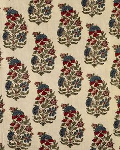 Hand block-printed paisley cotton fabric from India and made in 1850 Paisley Fabric, Paisley Pattern, Paisley Print, Textile Prints, Textile Design, Ajrakh Prints, Rajasthani Art, Vintage Flower Prints, Indian Prints