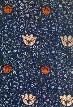 Garden tulip - textile design by William Morris, produced by Morris & Co in 1885 William Morris Wallpaper, William Morris Art, Morris Wallpapers, Arts And Crafts Movement, Of Wallpaper, Pattern Wallpaper, Glittery Wallpaper, Designer Wallpaper, Textures Patterns