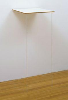 "Pace  Robert Ryman (American, born 1930)    1984. Synthetic polymer paint on fiberglass on wood with aluminum, 59 1/2 x 26 x 28"""