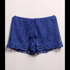 Blue Crochet Shorts #424-BS Crochet shorts that ties in the front. 100% Polyester. Hand wash. Runs big. Elastic waist. Measurements: Waist 32-34 B-Sharp Shorts