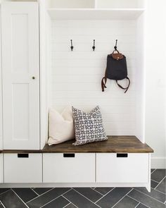 Mudroom Entryway - 15 Incredible Mudroom Organization Ideas For Simple Storage Home Design, Interior Design, Design Interiors, House Interiors, Mudroom Laundry Room, Mud Room Garage, Closet To Mudroom, Garage Closet, Mudroom Cabinets