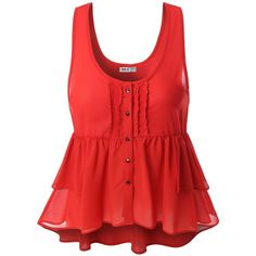 Doublju Womens Womens Shirring Botton Tank Top Style Blouse ($9.99) ❤ liked on Polyvore featuring tops, shirts, tank tops, red, shirred shirt, red ruched top, red singlet, gathered top and ruched tank