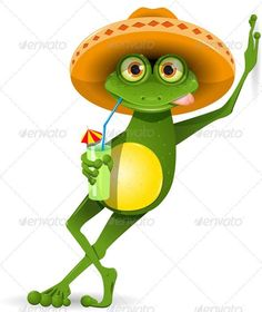 Illustration of green frog in a sombrero and a cocktail vector art, clipart and stock vectors. Funny Frogs, Cute Frogs, Frosch Illustration, Inkscape Tutorials, Cocktails Vector, Frog Pictures, Hat Vector, Frog Art, Green Frog