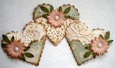 Set of 3 Paper Heart Embellishments. Vintage by KindrasCreations