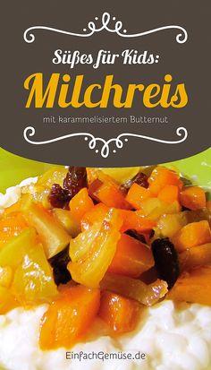 """Geniales Kürbis-Rezept: Milchreis mit karamellisiertem Butternut-Kürbis. Aus dem neuen Heft """"Kürbis"""" – gleich gratis anfordern bei einfachGemüse.de"""