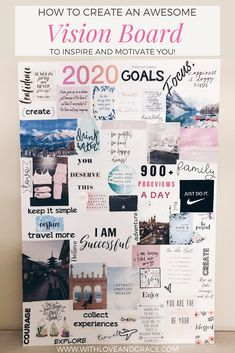 How to create an awesome vision board! Vision Board Images, Vision Board Template, Vie Motivation, Motivation Boards, Goal Board, New Year Goals, Creating A Vision Board, Manifestation Journal, Visualisation