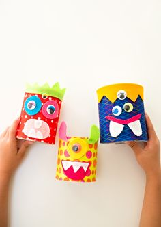 Recycled tin can felt monster craft. Diy Crafts Videos, Diy Craft Projects, Diy Crafts To Sell, Diy Crafts For Kids, Projects For Kids, Upcycled Crafts, Summer Crafts, Easy Crafts, Craft Ideas