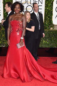 Full length and fabulous: Catherine Zeta-Jones and Viola Davis go for the full-on ballgown look Vintage Dresses, Nice Dresses, Formal Dresses, Golden Globes, Celebs, Celebrities, Donna Karan, Viola Davis, Pageant