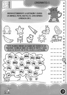 Consonante S Speech Language Therapy, Speech And Language, Speech Therapy, First Grade Worksheets, School Worksheets, Home Learning, Early Childhood Education, Science Projects, Learn To Read