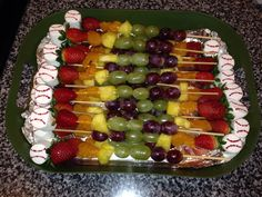 Baseball end of season party Fruit Kabobs topped off with a baseball marshmallow!  Take a toothpick dipped in red food coloring and dot away!  Fun and yummy!