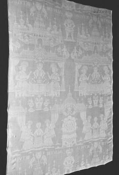 unknown from Netherlands, Table cloth 'Judith and Holofernes', 1600-1699, linen damask, 43.5 x 35.5 in, Victoria and Albert Museum, London, UK