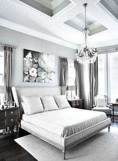 ♅ Dove Gray Home Decor ♅ white & grey bedroom