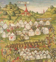 Zeltlager Karls des Kühnen bei der Schlacht von Murten 1476 (Ausschnitt) Diebold-Schilling-Chronik 1507/1513 (ZHB Luzern, S. 23 fol., fol. 108r.) nach: $Rohr$ 2002, S. 25.