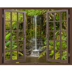 Window Frame Mural Waterfall in the forest Huge size Peel