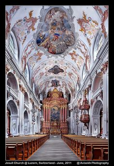 Jesuit Church @ Luzern, Switzerland by Avisekh, via Flickr//Kristy...I've been here, too.  This is a beautiful study in pinks and peaches.  Holy and beautiful and awe-inspiring.