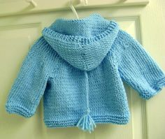 Knit Baby Hoodie Blue 6 to 12 months by KnitByMe on Etsy, $35.00