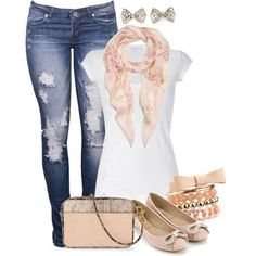 A fashion look from May 2013 featuring scoop neck t shirt, blue colour jeans and pink sparkly shoes. Browse and shop related looks. Cute Fashion, Look Fashion, Autumn Fashion, Fashion Outfits, Womens Fashion, Fashion Clothes, Swagg, My Outfit, Outfit Ideas