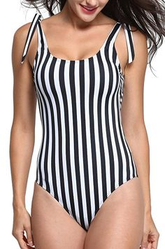 eeb4269956 Omladi Women's One Piece Black and White Stripes Swimsuit with Adjustable  Straps