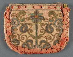 Purse, made in Italy, 18th century. Artist/maker unknown, Salmon colored silk over linen with metallic embroidery; silk ribbon ruching, linen foundation. (736×576) http://www.philamuseum.org/collections/permanent/127639.html?mulR=25505%7C890