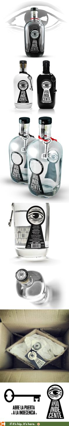 Bottle designs and graphics for Viejo Indecente Mezcal. Cool Packaging, Beverage Packaging, Bottle Packaging, Brand Packaging, Design Packaging, Alcohol Bottles, Liquor Bottles, Green Label, Label Design