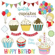 Cupcakes Vector Illustrations - 15 unique Images in color and black - AI EPS and PNG - Instant Download - happy birthday, party, cake | rachelwhiteart