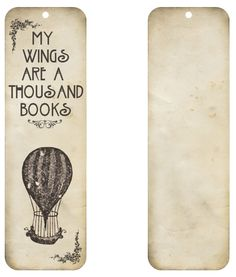Free printable - Vintage air balloon bookmark