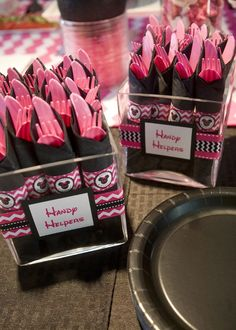 Hand Helper Utensil Wraps for a Minnie Mouse Birthday Party