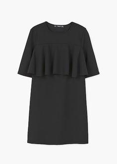 Šaty s texturou a volánem | MANGO