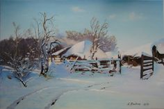 Winter   Classic Still Life Landscape Oil Painting by ArtNGalary