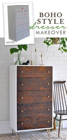 DIY: WOW! This dresser transformation uses a totally different technique!