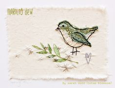 morning dew... textile art by sarah dodd (lotus blossom)
