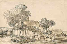 Rembrandt - Cottage with wooden fence amid trees
