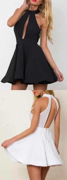 Black&White Entrapment Halter Cut Out Back Skater Dress,like it or not?