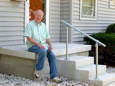 Need to build a DIY metal handrail? These 5 DIY stair railing kits are easy to assemble and install. Learn how our customers made their stairs safe with these simple metal handrail kits. Porch Step Railing, Porch Handrails, Exterior Stair Railing, Stair Railing Kits, Outdoor Stair Railing, Metal Stair Railing, Balustrades, Porch Steps, Front Steps