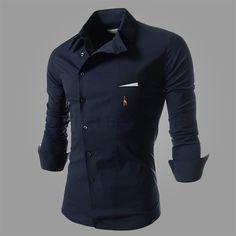 Nuevo 2015 casual larga- camisa de manga de color puro delgado vestido de moda de camisetas para hombre m-xxl