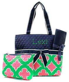 Personalized Coral Moroccan Diamond Quilted 3pc Diaper Bag - Navy & Mi